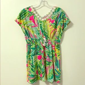 Lilly Pulitzer Girls XL 12/14 Palm Coverup Dress
